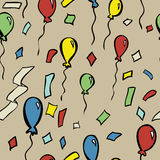 Seamless Party Pattern. A seamless pattern of party balloons and confetti Royalty Free Stock Photography