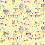 Seamless party pattern with garland of the flags, confetti, cake, air balloons, bows and gifts Royalty Free Stock Photos