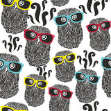 Seamless party pattern with happy owls in Royalty Free Stock Image