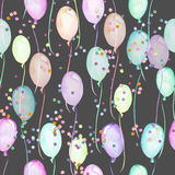 Seamless party pattern with multicolored air balloons and confetti Royalty Free Stock Images