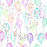 Seamless party pattern with multicolored air balloons and confetti Royalty Free Stock Photos