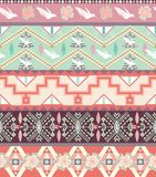 Seamless pastel aztec pattern with birds and roses Royalty Free Stock Images