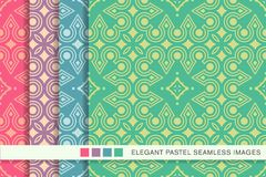 Seamless pastel background set Aboriginal Round Check Cross Fram. E Line, collection of stylish vintage retro pattern ideal for greeting card banner or wallpaper Royalty Free Stock Photography