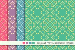 Seamless pastel background set Aboriginal Spiral Curve Cross Fra. Me Vine, collection of stylish vintage retro pattern ideal for greeting card banner or Royalty Free Stock Images