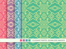 Seamless pastel background set Check Cross Aboriginal Geometry L. Ine, collection of stylish vintage retro pattern ideal for greeting card banner or wallpaper Royalty Free Stock Photography