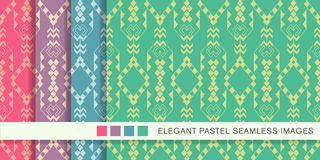 Seamless pastel background set Check Triangle Aboriginal Arrow C. Ross, collection of stylish vintage retro pattern ideal for greeting card banner or wallpaper Stock Photography