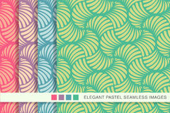 Seamless pastel background set fan seashell curve Stock Photography