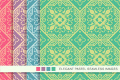 Seamless pastel background set octagon geometry cross flower vin Royalty Free Stock Images