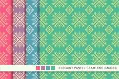 Seamless pastel background set Polygon Check Geometry Cross Abor. Iginal Frame, collection of stylish vintage retro pattern ideal for greeting card banner or Stock Photo