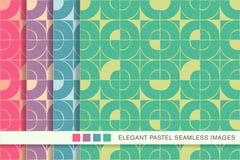 Seamless pastel background set round square mosaic cross Stock Photo
