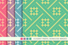 Seamless pastel background set square check cross mosaic Stock Photos