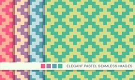 Seamless pastel background set square mosaic geometry cross Royalty Free Stock Photo