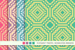 Seamless pastel background set square mosaic octagon cross Stock Photography
