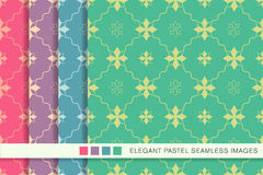 Seamless pastel background set star flower wave line Stock Photos