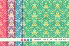Seamless pastel background set Triangle Aboriginal Cross Dot Lin. E Flower, collection of stylish vintage retro pattern ideal for greeting card banner or Royalty Free Stock Images