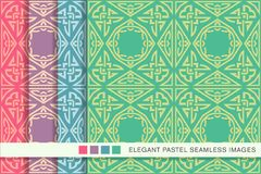 Seamless pastel background set Triangle Polygon Aboriginal Cross. Frame Chain, collection of stylish vintage retro pattern ideal for greeting card banner or Stock Photo