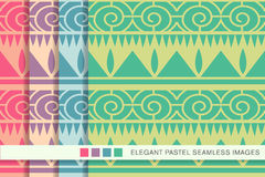 Seamless pastel background set triangle sawtooth spiral round li Royalty Free Stock Image