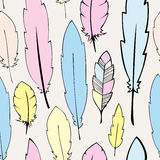 Seamless  pastel bohemian feathers illustration Royalty Free Stock Photography