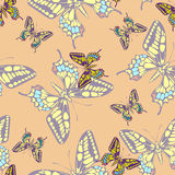 Seamless pastel butterfly pattern wallpaper Stock Photos