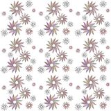 Seamless pastel colored floral pattern in a zentangle style. On white background stock illustration