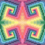 Seamless Pastel Colored Spirals of the Rectangles. Optical Illusion of Perspective. Stock Image