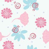 Seamless pastel colors flowers background. Stock Image
