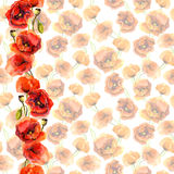Seamless pastel floral background with bright border. Red poppy flowers. Watercolour painted art. Seamless floral pattern with poppies. Watercolour hand made Royalty Free Stock Photo