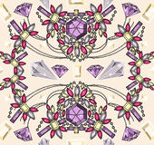 Seamless pastel jewelery necklace kaleidoscope pat Royalty Free Stock Photography