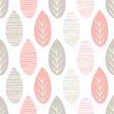 Seamless pastel nature vector pattern. Leaves with lines and twigs on white background. Hand drawn abstract spring ornament Royalty Free Stock Photo