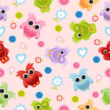 Seamless pastel powder color owl background pattern for kids in  Stock Photos