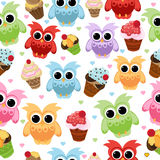 Seamless pastel powder color owl background pattern for kids in vector Royalty Free Stock Photos