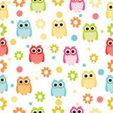 Seamless pastel powder color owl background pattern for kids in vector Stock Photos