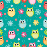 Seamless pastel powder color owl background pattern for kids in vector Royalty Free Stock Photography
