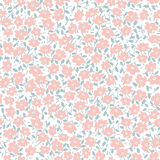 Seamless pastel vector pattern with pink flowers and leaves Royalty Free Stock Image
