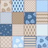 Seamless patchwork background with different patterns in blue and brown colors. Design for fabric. Textile, blanket, quilt. Vector illustration stock illustration