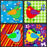 Seamless patchwork birds Stock Image