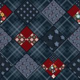 Seamless patchwork design pattern in vintage. Style Stock Photography