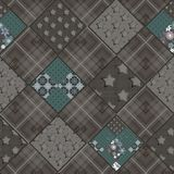 Seamless patchwork design pattern in vintage. Style Royalty Free Stock Photo
