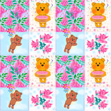 Seamless patchwork kids pattern with teddy bears Stock Photo