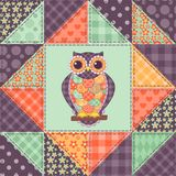 Seamless patchwork owl pattern 1 Royalty Free Stock Photos