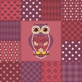 Seamless patchwork owl pattern 3 Stock Images