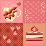 Seamless patchwork pattern with applique Stock Photos