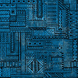 Seamless patchwork pattern. Black geometric lines on blue waterc Royalty Free Stock Images
