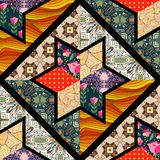 Seamless patchwork pattern with black seams. Royalty Free Stock Photos