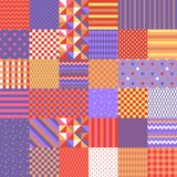 Seamless patchwork pattern from bright colorful patches with geometric ornament. Vector illustration. Quilt design royalty free illustration