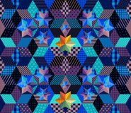 Seamless patchwork pattern with bright stars. Mysterious starry night. Stock Photo