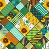 Seamless patchwork pattern with cereals, sunflowers and geometric ornament. Vintage vector illustration in watercolor style Stock Photos