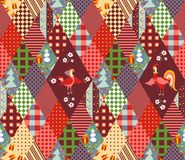 Seamless patchwork pattern for Christmas and chinese year of the Rooster. Royalty Free Stock Photo