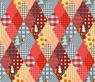 Seamless patchwork pattern for Christmas. Royalty Free Stock Photo