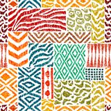 Seamless patchwork pattern. A collection of hand-drawn textures. Animal print for textiles. Ethnic and tribal motifs. Vector stock illustration